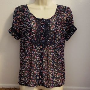 American Eagle Outfitters Medium Sheer Floral Top